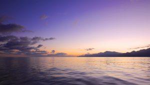 Tidlig morgen solopgang ud for Sóller (Mallorca) på vej til Barcelona